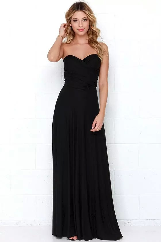 Fashion women Elegant sexy back Bow Floor-Length pleated ...