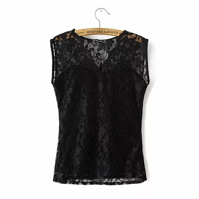 Fashion women elegant sexy black lace blouse sleeveless ...