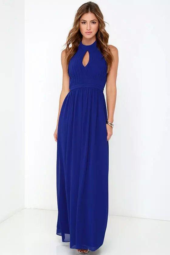 Fashion Women Elegant Sexy blue off shoulder Ankle-Length ...