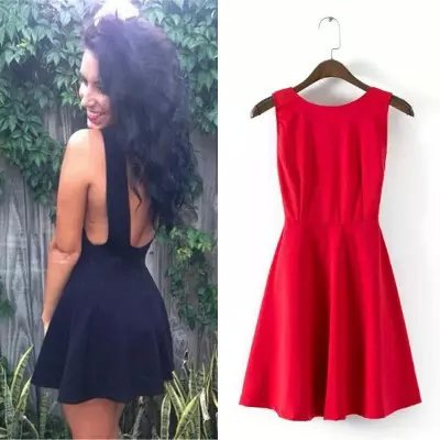 Fashion Women elegant sexy red O-neck backless mini ...