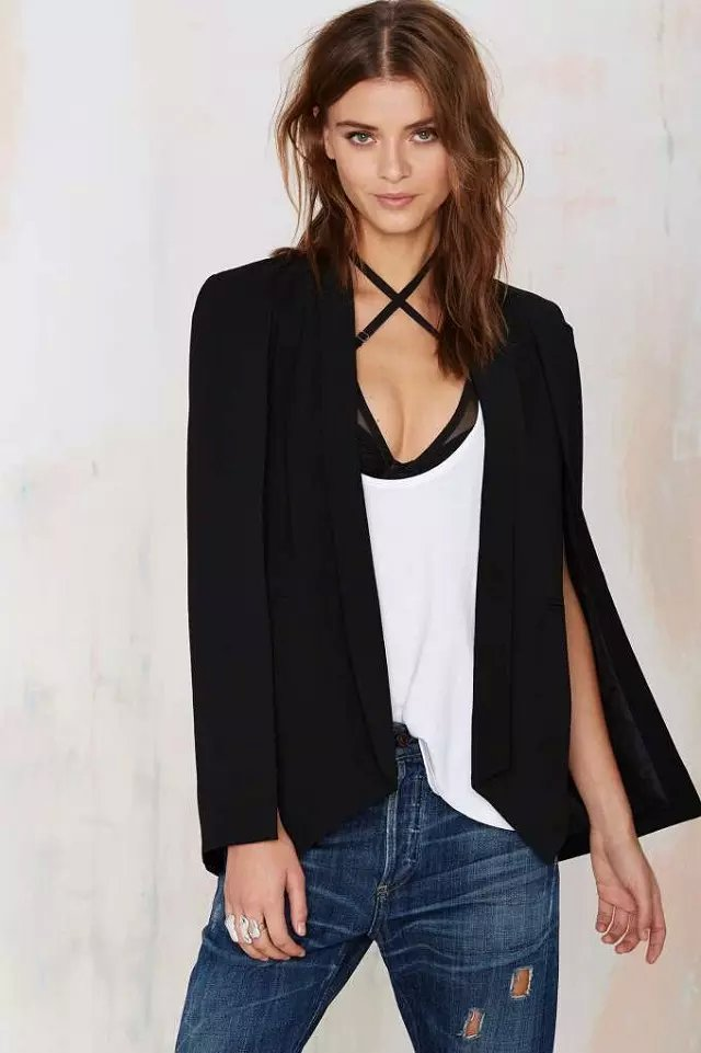 Fashion women elegant Split sleeve office black pocket ...