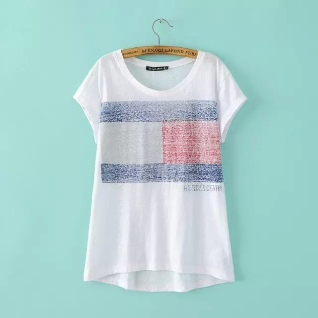 Fashion Women Elegant white Danish flag Print T-shirt ...