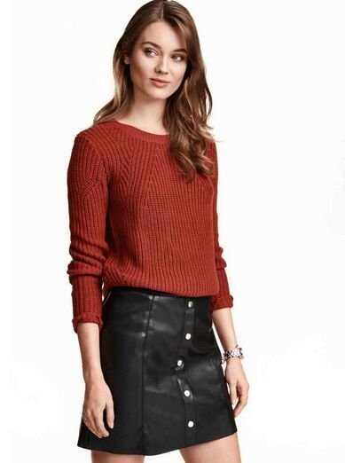 Fashion Women Elegant Wine red knitted sweater winter ...