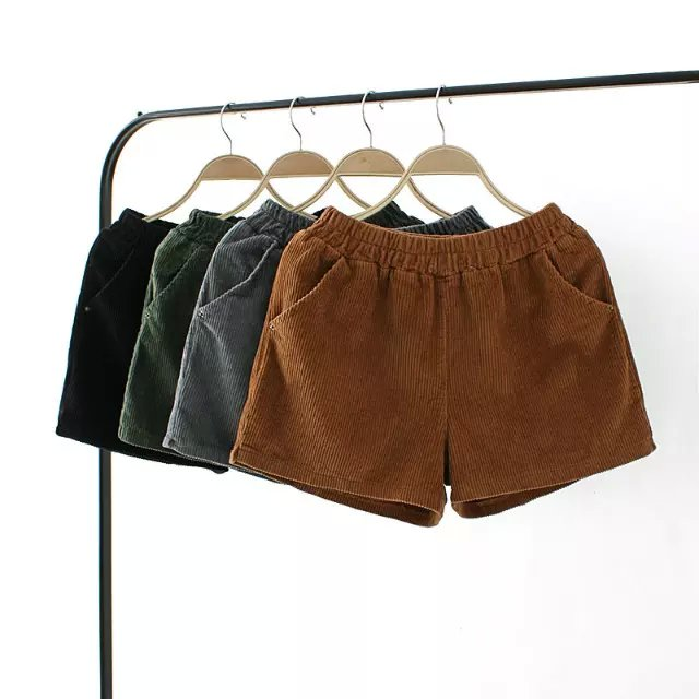 Fashion women elegant Winter Corduroy shorts vintage ...
