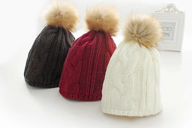 Fashion women elegant winter thick warm fur ball knitted ...