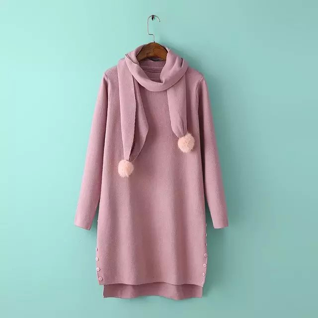 Fashion women Elegant winter warm side button open Pink ...