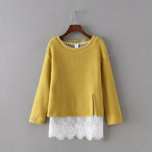 Fashion Women elegant Winter yellow woolen patchwork ...