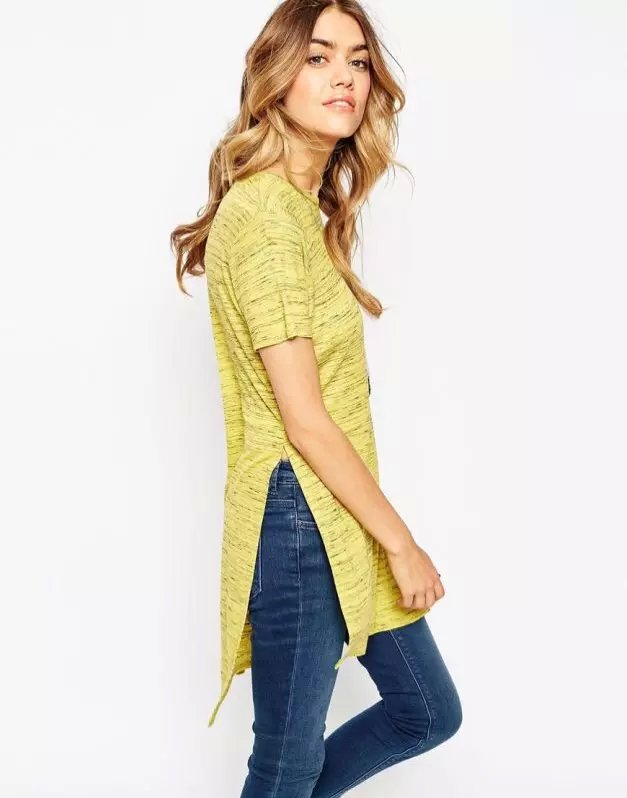 Fashion women elegant yellow Side Open long T-shirt ...