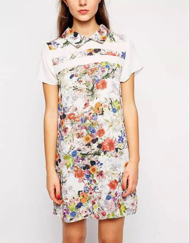 Fashion Women floral print patchwork mini Dress vintage ...