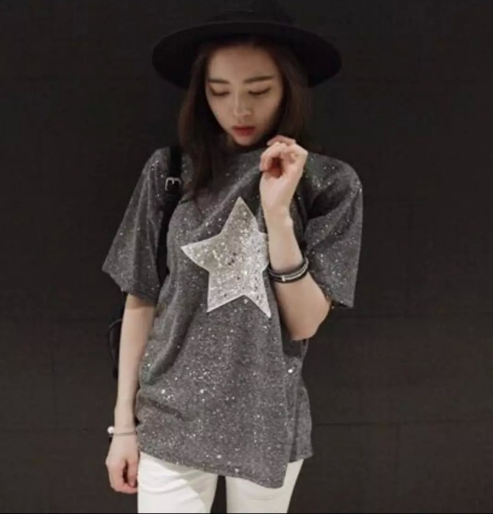 Fashion Women gray Silver sequins Star Embroidery gold ...