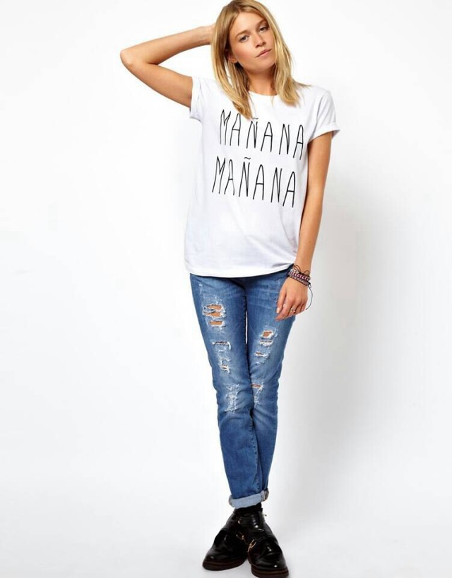 Fashion Women Letter Print White T-shirt O-neck short ...