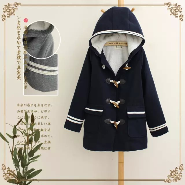 Fashion Women Pockets button blue woolen jacket Long ...