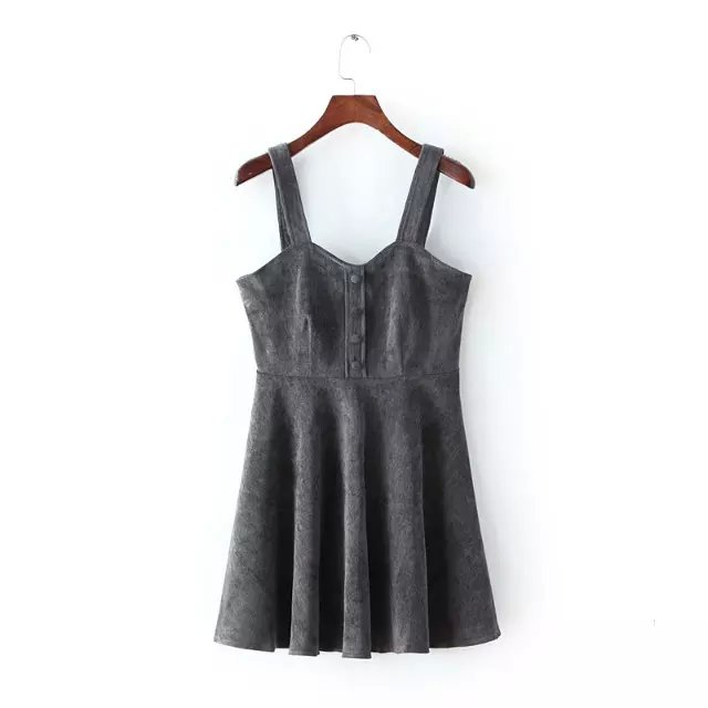Fashion Women sexy gray Corduroy thick Spaghetti Strap ...