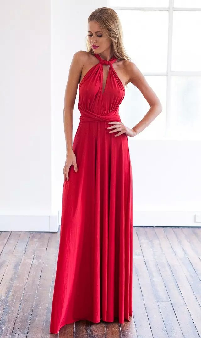 Fashion women sexy red Floor-Length pleated Dress back ...
