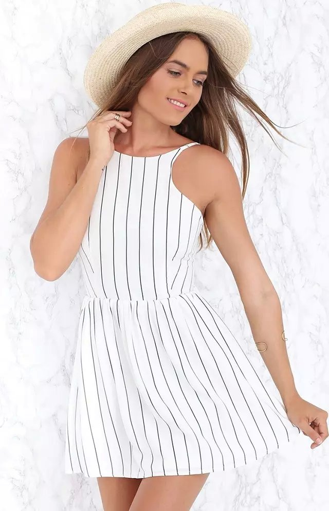 Fashion Women sexy white striped print Backless mini ...