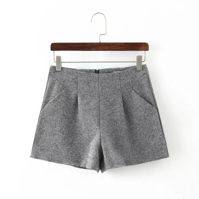Fashion Women Spring Elegant Gray woolen shorts back ...