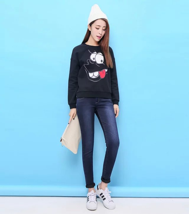 Fashion Women Sweatshirts fleece cute black Cartoon ...