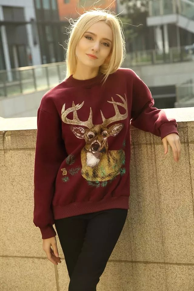 Fashion Women sweatshirts winter thick warm fleece red ...