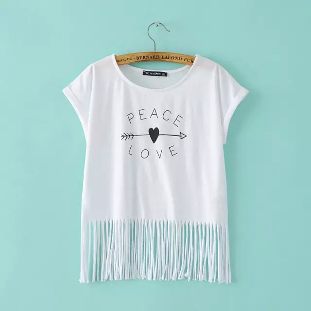 Fashion Women Tassel white Letter heart print T-shirt ...