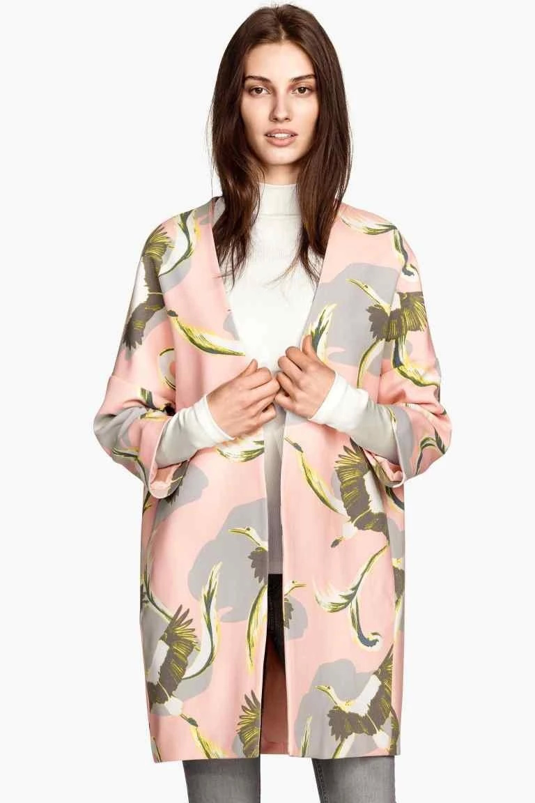 Fashion Women vintage Pink bird Print long jacket Three ...
