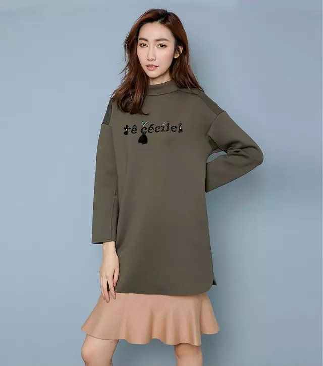 Fashion women winter elegant army green Letter patchwork ...