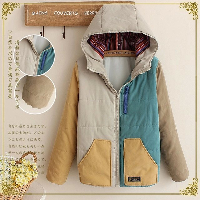 Fashion Women winter thick warm Blocking Color cotton ...