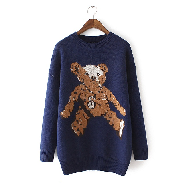 Fashion Women winter thick warm cute blue bear pattern ...