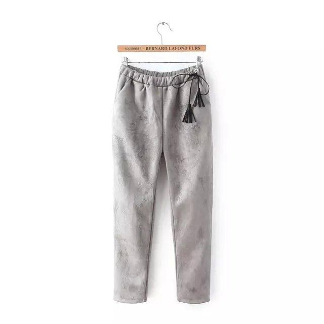 Fashion Women winter warm Faux suede Leather gray tassel ...