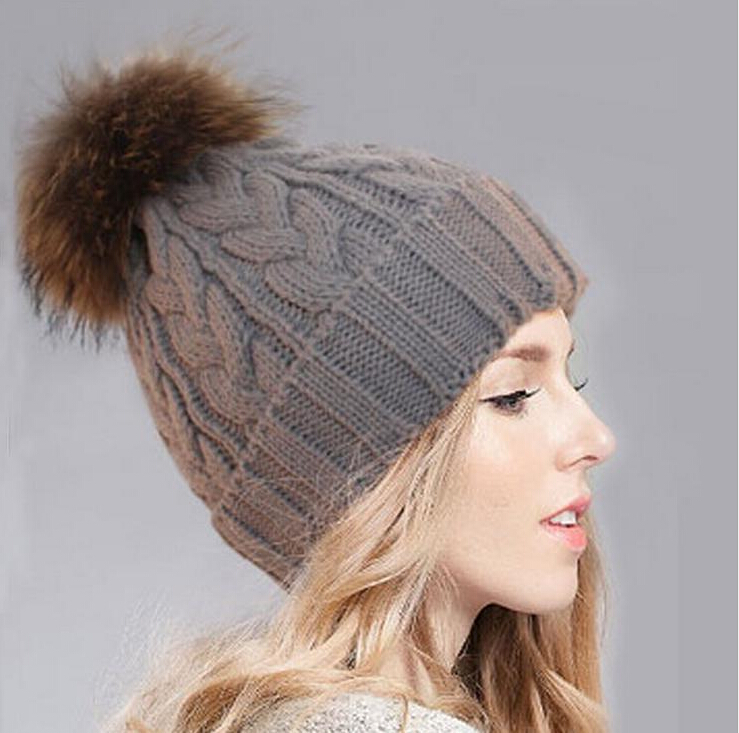 Fashion women winter warm gray Knitted Removable fur ...