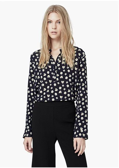 Sping Fashion Women Elegant cotton black Floral print ...
