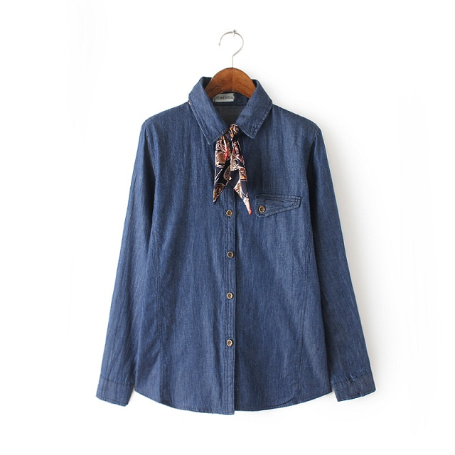Spring Fashion Female elegant blue Denim shirts blouses ...