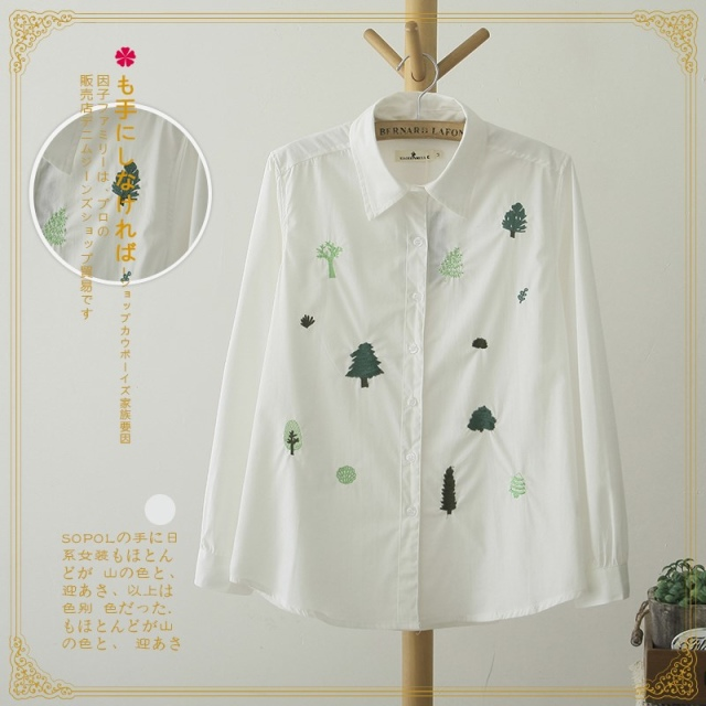 Spring Fashion white tree Embroidery cotton blouse for ...