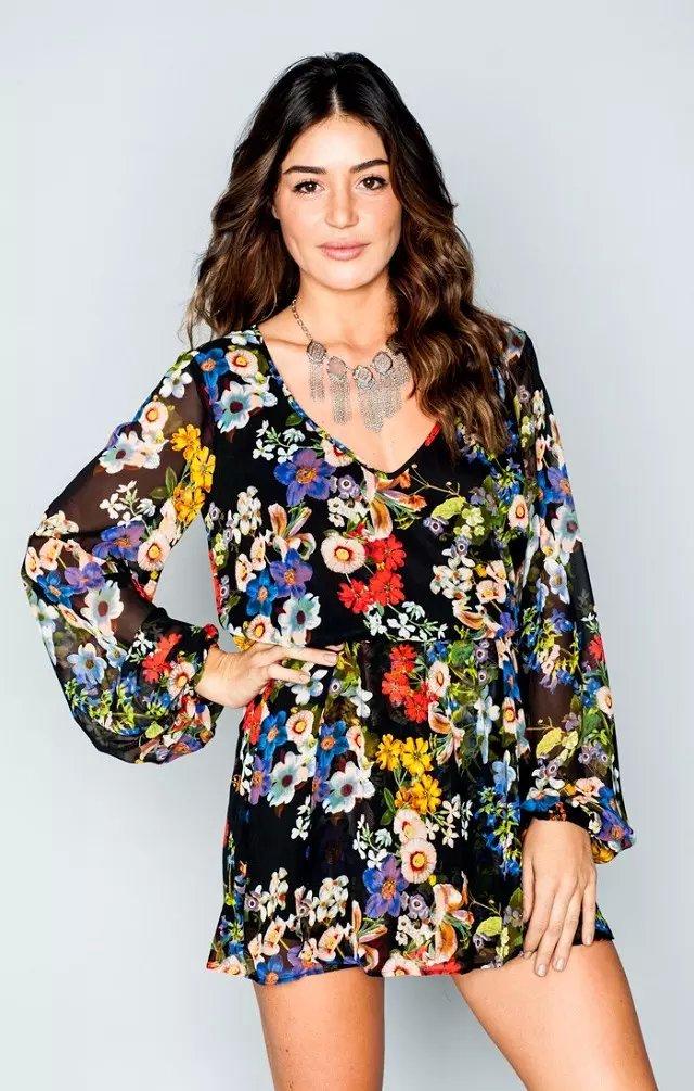 Spring Fashion Woman Boho Elegant chiffon Floral Print ...