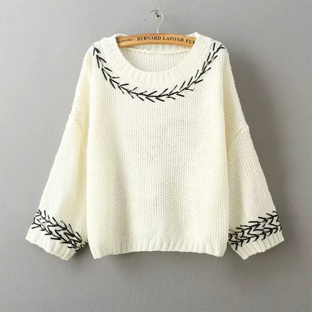 Spring Fashion Women beige Embroidery O-neck short Knitted ...