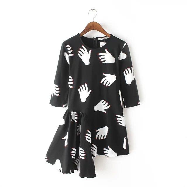 Spring Fashion women black Hand print irregular pleated ...