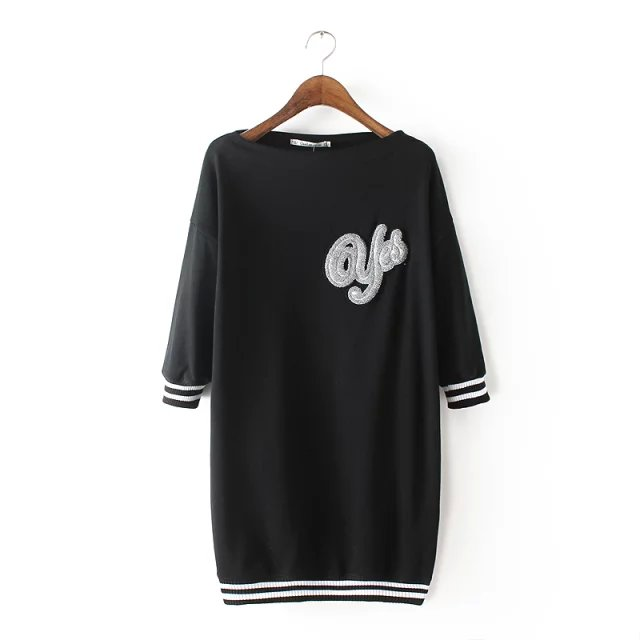 Spring Fashion women black letter Embroidery Half Sleeve ...