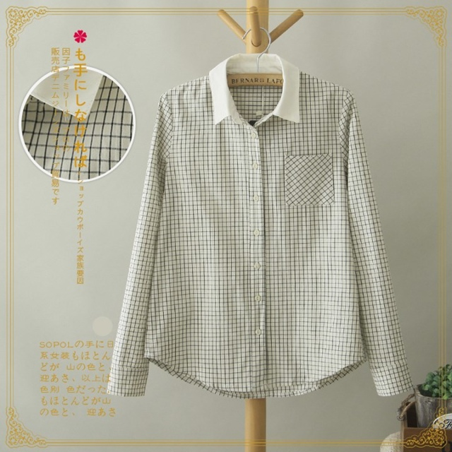 Spring Fashion Women brife plaid print blouse vintage ...