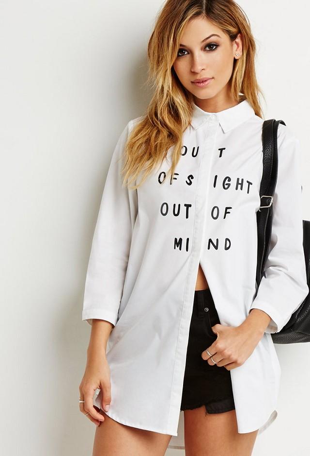 Spring fashion women cotton white Letter print long ...
