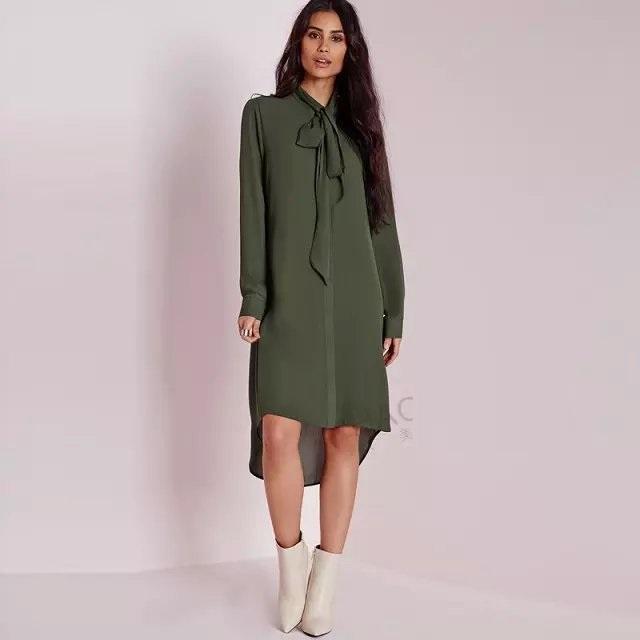 Spring Fashion women elegant Army green long sleeve ...