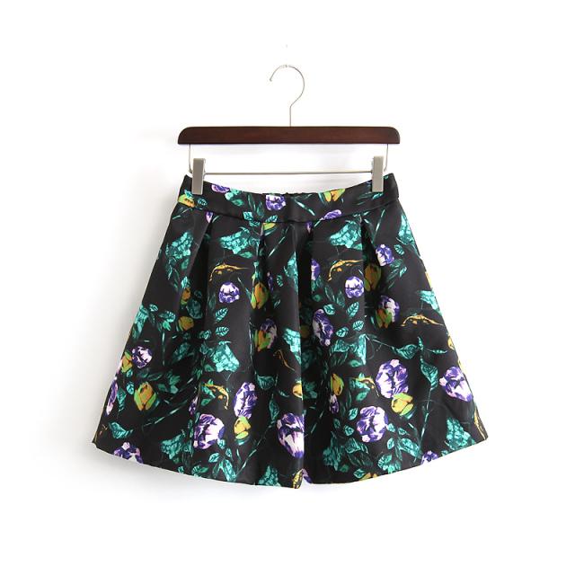 Spring Fashion Women Elegant black floral Print mini ...