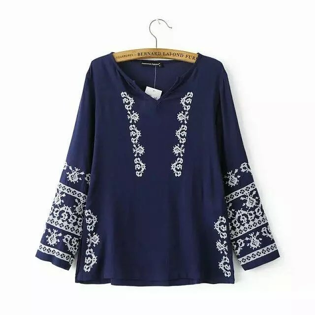 Spring Fashion Women elegant blue Geometric Embroidery ...