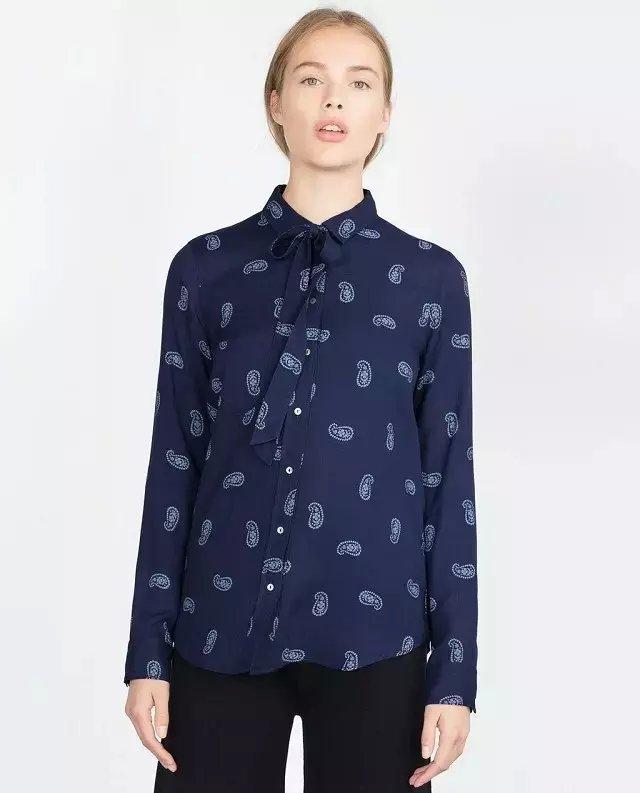 Spring Fashion women elegant bow tie blue print blouse ...
