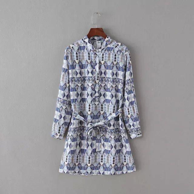 Spring Fashion Women Elegant cotton Geometric print ...