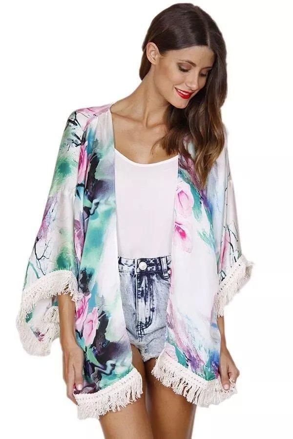 Spring Fashion Women Elegant floral Print Tassel Kimono ...