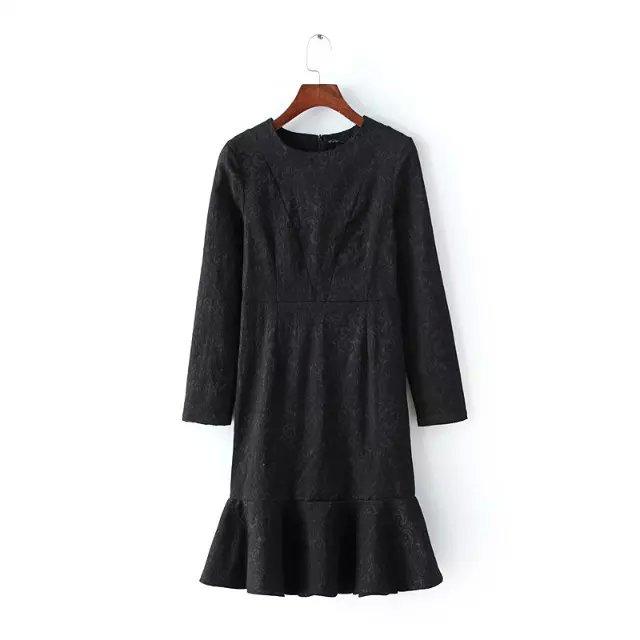 Spring Fashion Women elegant O-Neck black Trumpet mini ...
