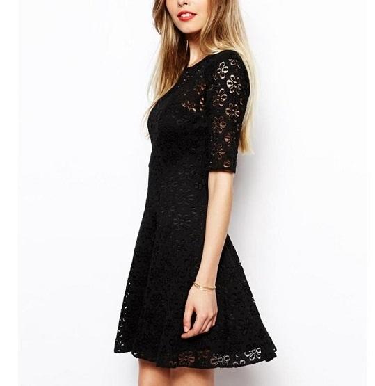 Spring Fashion women Elegant sexy black lace hollow ...