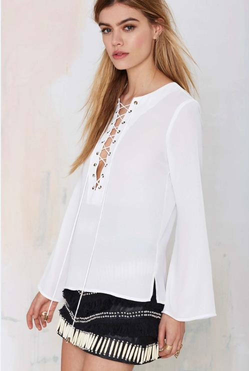 Spring Fashion women Elegant sexy Boho White blouse ...