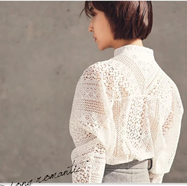 Spring Fashion women elegant sexy lace hollow out white ...