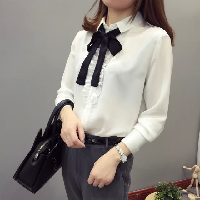 Spring Fashion Women elegant sweet bow tie white ruffle ...