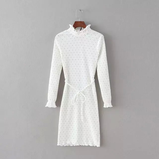 Spring Fashion Women elegant thick white dots print ...